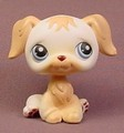 Littlest Pet Shop #140 Blemished White & Tan Golden Retriever Puppy Dog With Blue Eyes