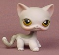 Littlest Pet Shop #138 Blemished Gray & White Short Hair Kitty Cat Kitten Gold Brown Eyes