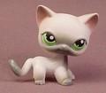 Littlest Pet Shop #125 Blemished White & Gray Short Hair Kitty Cat Kitten With Green Eyes