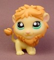 Littlest Pet Shop #1004 Yellow Lion With Green Eyes, Orange Mane & Tail, Sassiest Pets