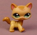 Littlest Pet Shop #1174 Caramel Brown Shorthair Kitty Cat Kitten With Fancy Green Eyes, Brown Ears