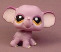 Littlest Pet Shop #1086 Purple Elephant With Orange Brown Eyes, Pink Inside The Ears