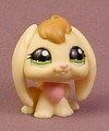 Littlest Pet Shop #1167 Cream Or Light Yellow Bunny Rabbit With Green Eyes, Pink Neck Fur