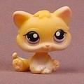 Littlest Pet Shop #114 Light Orange Or Tan Baby Kitty Cat Kitten With Purple Eyes, Curly Tail