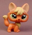 Littlest Pet Shop #1028 Orange Brown & Yellow Arctic Fox With Green Eyes, Sportiest Pets