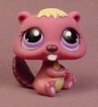Littlest Pet Shop #1410 Dark Purple Beaver With Purple Eyes, Cream Fur & Tummy