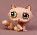 Littlest Pet Shop #1409 Mocha Brown Raccoon With Blue Green Eyes, Brown Ears & Tail