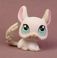 Littlest Pet Shop #1401 White Chinchilla With Light Blue Eyes, Gray Tail & Face, Grey, Singles