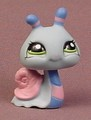 Littlest Pet Shop #1446 Light Blue Snail With Green Eyes, Pink Shell, Blue With Pink Stripes