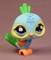 Littlest Pet Shop #1069 Light Blue Peacock Bird With Purple & Blue Cloud Eyes