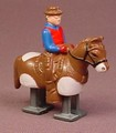 Ramp Walker Cowboy On A Pinto Horse, 2 1/4 Inches Long, Plastic With Metal Legs, 2003