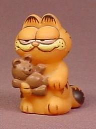 Garfield The Cat Soft Vinyl, Figure Holding A Teddy Bear, 1 3/4 Inches Tall, Hong Kong