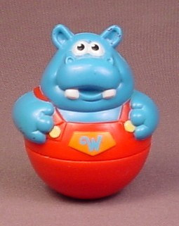 Weebles Blue Hippo In Red Overalls, Weebleville, 2003 Playskool Hasbro