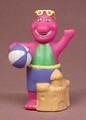 Barney The Purple Dinosaur With Sand Castle & Beach Ball Vinyl Figure, 2 5/8 Inches Tall