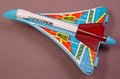 Vintage Concorde Supersonic Jet Toy With Friction Powered Sparks, Tin Top On A Plastic Base