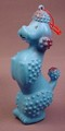 Vintage Celluloid Type Plastic Blue Poodle Dog With Ornament Loop, 5 1/4 Inches Tall