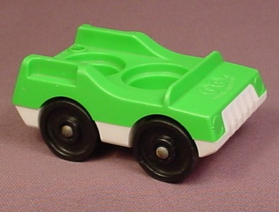 Fisher Price Vintage 2 Seat Car Green Top White Base
