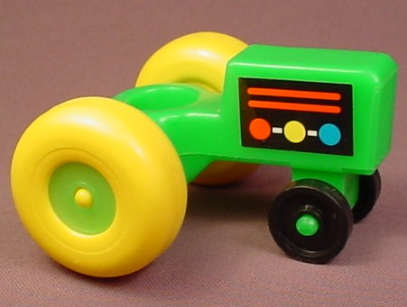 Fisher Price Vintage Green Tractor With Yellow Wheels, Has The