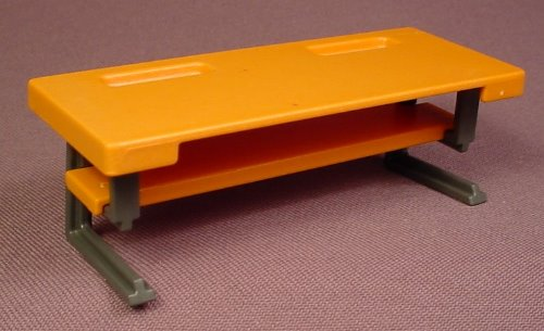 Playmobil orange work table with a lower shelf gray legs Table playmobil