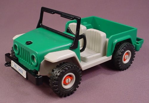 Playmobil Green Amp Gray Jeep With A Black Fold Down