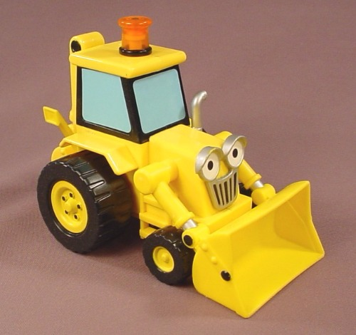 Bob The Builder Motorized Scoop, 6 1/2 Inches Long, Lift His Light & He Rolls Forward, 2001 Hasbro