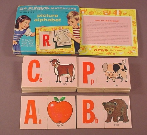 Playskool Vintage Picture Alphabet Match-Ups Puzzle Pieces With The Frame Tray, Has All 24 Puzzles