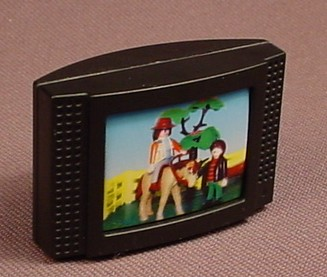 Playmobil Black TV Television Set With A Picture Of A Girl On A Horse, 3966 4062