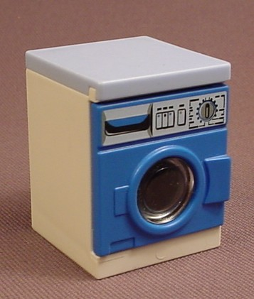 Playmobil Blue & White Clothes Washing Machine With An Opening Door That Has A Round Clear Window