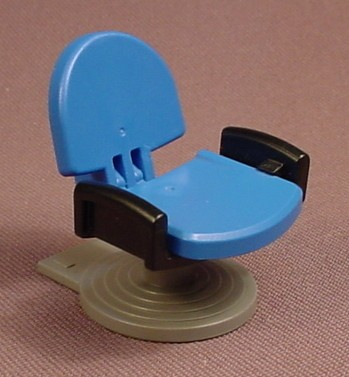 Playmobil Blue Barber Chair With An Adjustable Back & Black Arm Rests, Has A Gray Base Or Stand