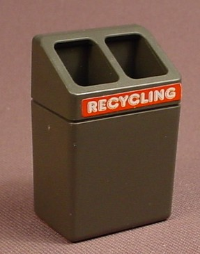Playmobil Black Or Dark Gray Recycling Bin With A Slanted Top & 2 Openings, 1 3/4 Inches Tall