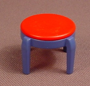 Playmobil Blue Stool With A Red Round Seat Cushion, 3964 3967, The Stool Is 30 22 0010