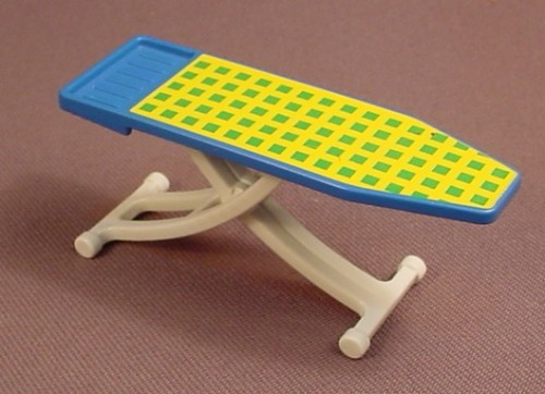 Playmobil Blue & Yellow Ironing Board With White Folding Legs, 3206 5271, The Board Is 30 62 5090
