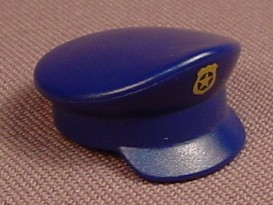 Playmobil Dark Blue Pealed Police Hat With A Gold Shield, Cap, 3165 3167 5703 5718, 30 62 0090