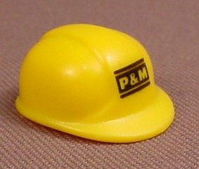 Playmobil Yellow Modern Construction Helmet Or Hardhat With A P&M Logo, 3260 3275 4080 4085