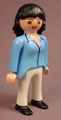 Playmobil Adult Female Beautician Figure In A Light Blue Shirt & White Pants, Black Shoes, 4413