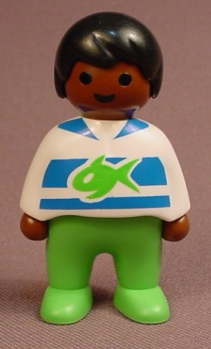 Playmobil 123 African American Female Girl Child Figure In A Blue & White Striped Shirt, 6781