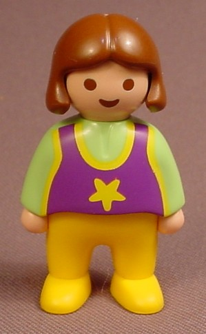 Playmobil 123 Female Girl Child Figure In A Green Shirt With A Purple T-Shirt, 6781