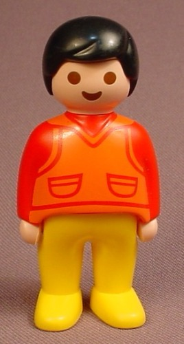 Playmobil 123 Adult Male Figure In A Red Shirt With An Orange Vest & Yellow Pants, 6790