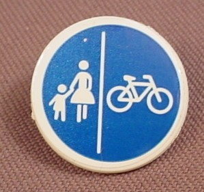 Playmobil White Round Sign With A Clip On The Back And A Bicycle & Walkway Sticker Applied, 3273