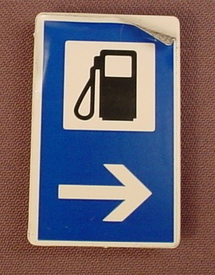 Playmobil White Rectangular Sign With A Clip On The Back And A Gas & Arrow Sticker, 3259 3273