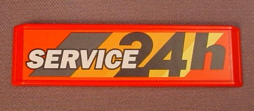 Playmobil Red Sign With Bevelled Edges & A 24 Hr Service Sticker Applied, 3 1/2 Inches, 3218 7697