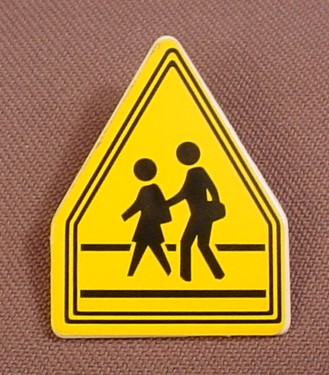Playmobil White Sign With A Square Bottom & A Pointed Top, Clip On The Back, Crosswalk Sticker, 3273