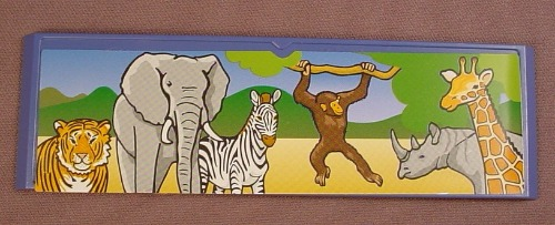 Playmobil Blue Sign With Bevelled Edges & A Zoo Animals Sticker Applied, 5 7/8 Inches Long, 3240