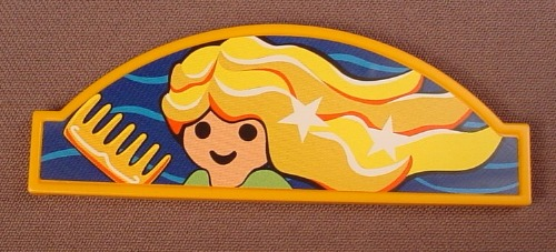 Playmobil Orange Or Gold Sign With An Arched Top & A Sticker That Has A Woman With Flowing Hair 4413