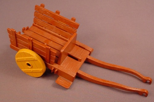 Playmobil Reddish Brown Wood Or Wooden Wagon With Mustard Yellow Wood Wheels & Horse Harness