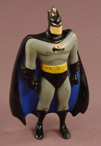 Batman PVC Figure With A Keychain Ring, Gray Black & Yellow, 3 1/4 Inches Tall, 1995 Hei, Key Chain