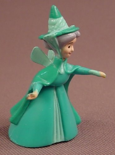 Disney Sleeping Beauty Fanna Fairy With Arms Outstretched PVC Figure, 1 3/4 Inches Tall, Figurine