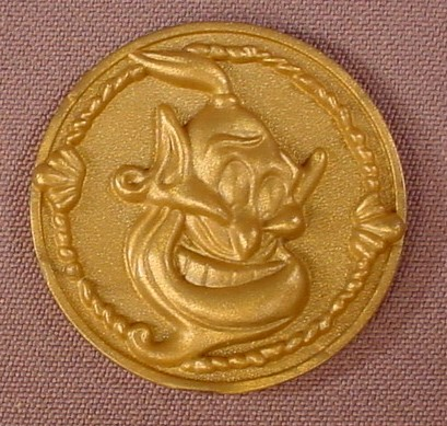 Disney Aladdin Plastic Gold Coin With Genie's Face On One Side, 1 1/2 Inches Across