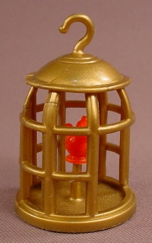 Disney Aladdin Gold Bird Cage With A Red Bird Inside, 2 1/2 Inches Tall, From A Mattel #5303 Set