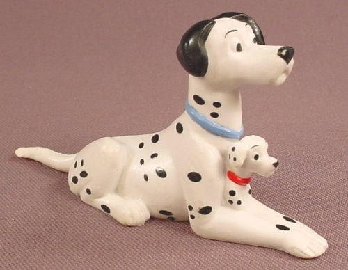 Disney 101 Dalmatians Pongo Dad Or Father PVC Figure With A Baby Puppy Between His Legs